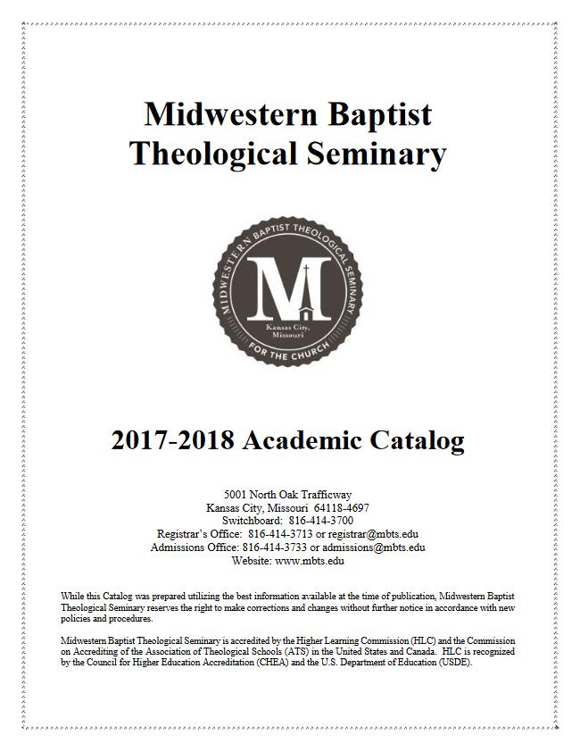 2017-18 Midwestern Seminary Academic Catalog