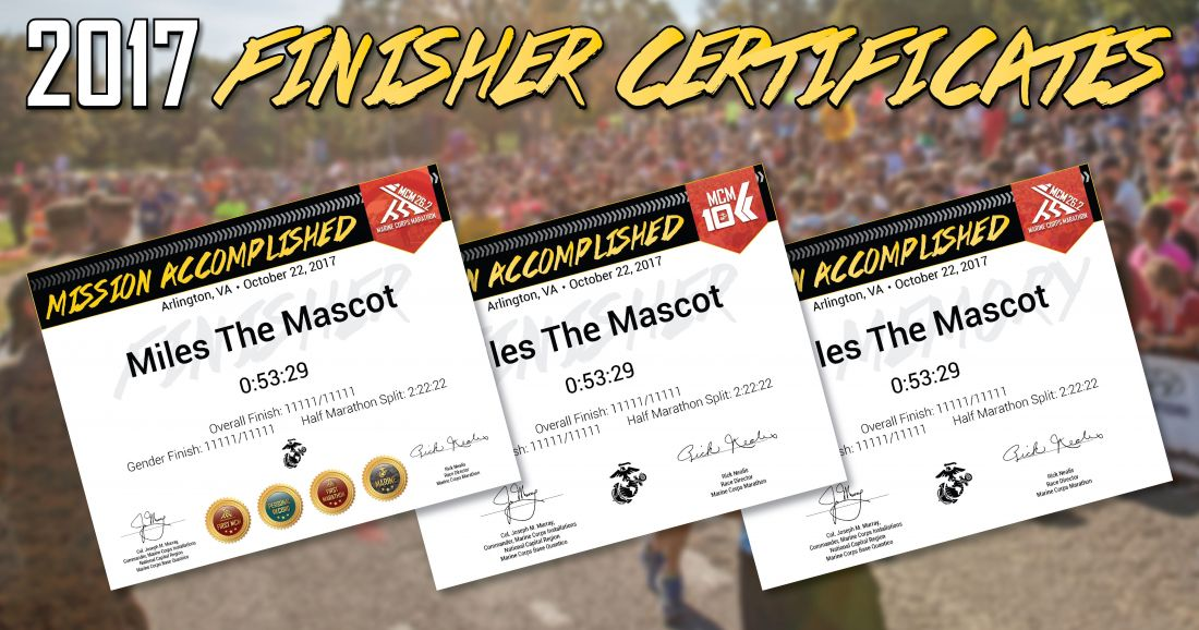 Marine Corps Marathon new personalized individualized finisher certificates