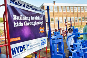 Playground build at Hyde Leadership Charter School on Make a Difference Day