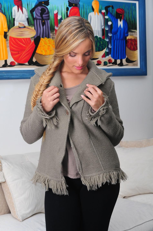 saquito con flecos saco corto de lana 4 botones mangas largas con ...