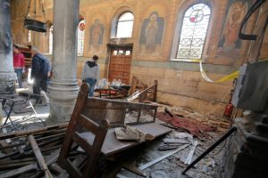 A bomb blast at St. George's Church in Tanta, Egypt, on Palm Sunday.