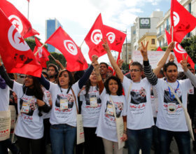 Tunisian youth participate in a march at the World Social Forum (Alamy.com)