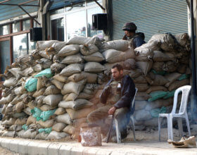 A Syrian security post in Duma, a Damascus suburb, in January of 2012 (Elizabeth Arrott/VOA).