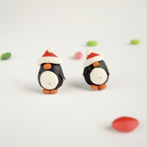 Festive penguin earrings