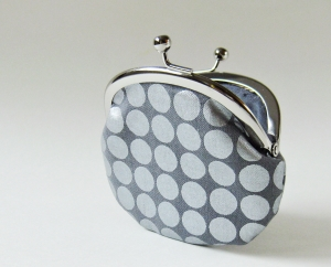 Coin purse - silver dots on gray