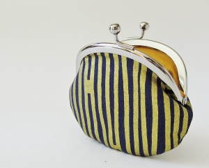 Coin purse - gold stripes on navy