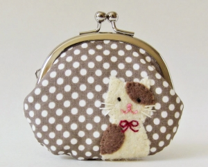 Coin purse - cat on mocha polka dots