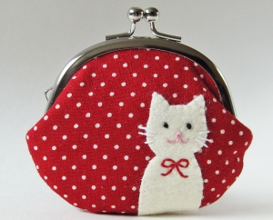 Coin purse - cat on red polka dots