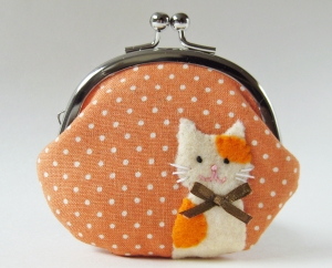 Coin purse - cat on orange polka dots