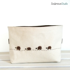 Fabric basket (DVD size) - natural canvas with hedgehog family 2