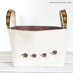 Fabric basket (DVD size) - natural canvas with hedgehog appliqué