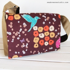 Messenger bag - beige canvas and bird print accent (OOAK)