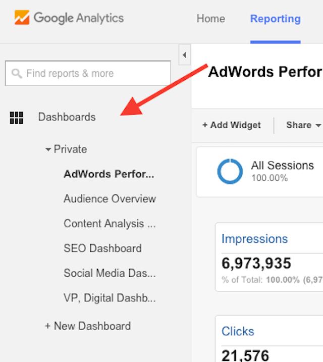google-analytics-dashboard-list