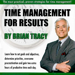 Brian Tracy discusses importance of time management strategies on audio program cover