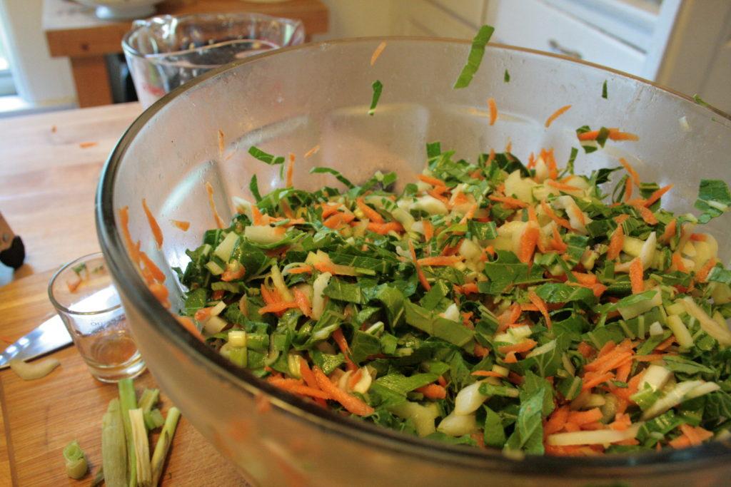 bowl of pac choi salad