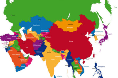 Colorful Asia map with countries and capital cities
