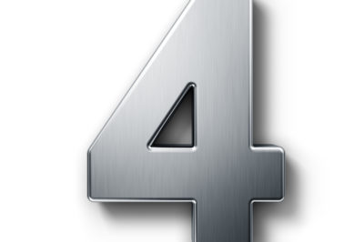 3d rendering of the number 4 in brushed metal on a white isolate
