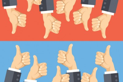 Thumbs up and thumbs down flat illustration. Good choice and poor choice