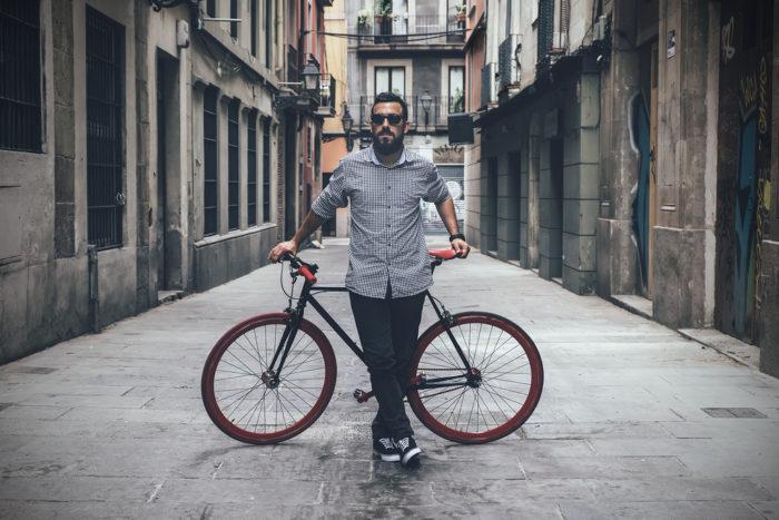 bearded guy on bike
