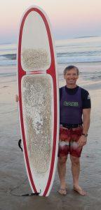 David Lee and surfboard