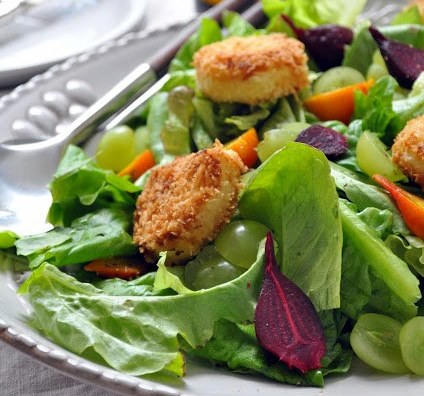 Roasted Beet Salad with Fried Goat Cheese Croutons