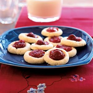 Raspberry Chile Thumbprint Cookies