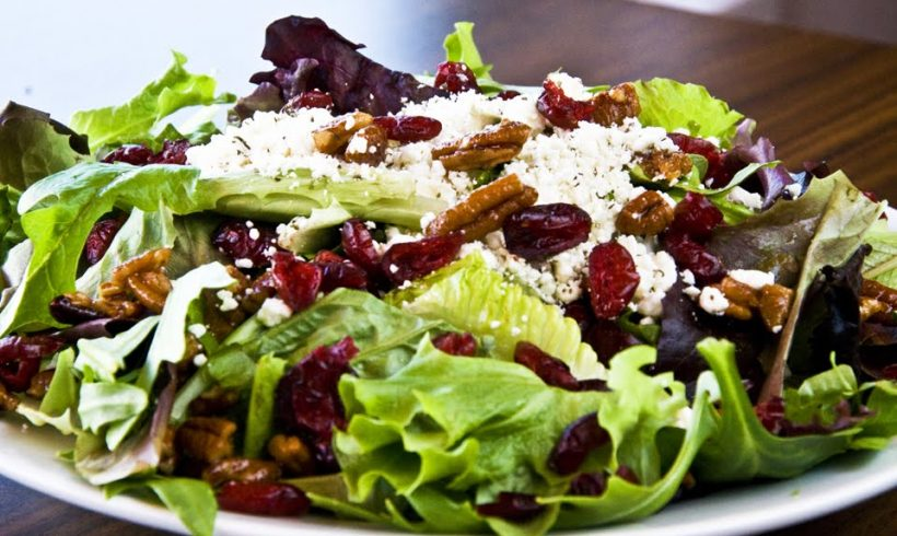 Mixed Greens with Pecans, Goat Cheese, and Dried Cranberries
