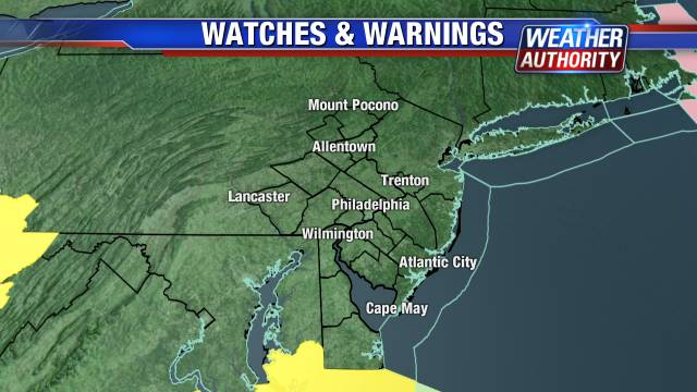 Map of Severe Weather Watches, Warnings and Advisories