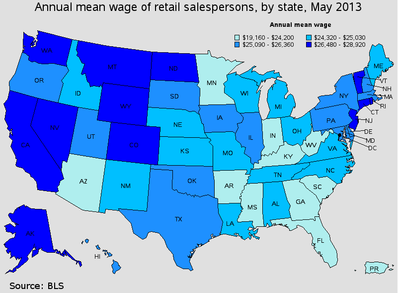 BLS retail pay map