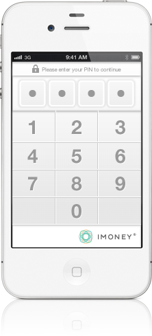 iMoney screenshot security PIN screen