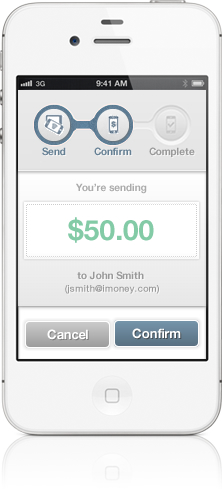 iMoney screenshot mobile to mobile iMoney payments