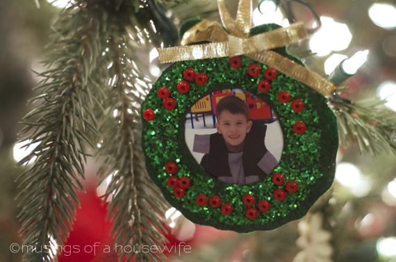 school photo wreath Christmas tree ornament