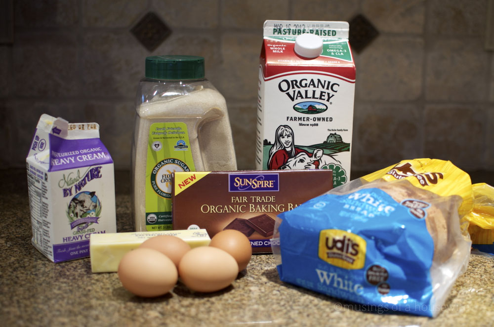 ingredients for chocolate bread pudding