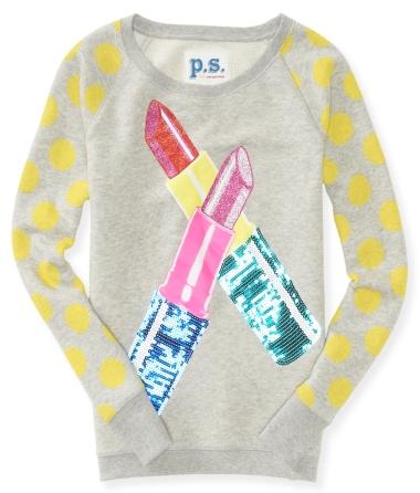 Kids' Long Sleeve Glitter Lipstick Sweatshirt