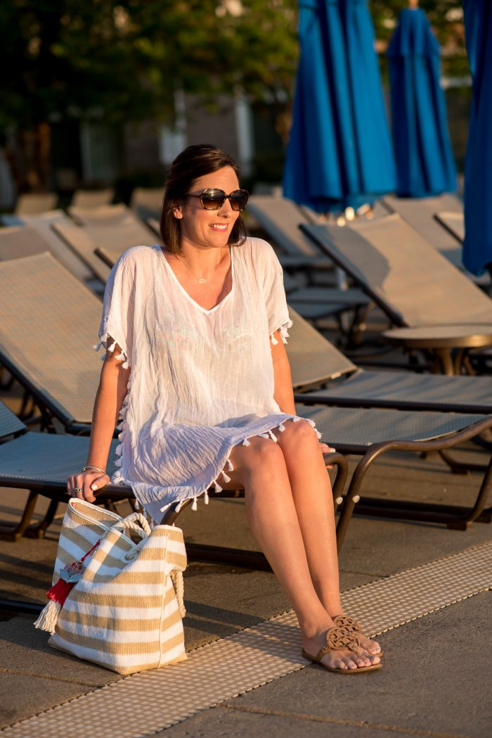The perfect cotton gauze swimsuit cover-up caftan with tassel trim & Vera Bradley Beach Stripe Tote.
