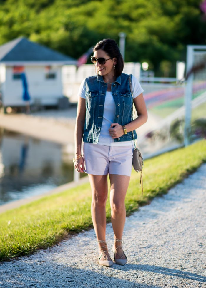Lace-up flats with shorts is a fresh, fun look for summer! Old Navy Pixie Chino Shorts with M.Gemi Brezza Lace-Up Ballet Flats in Latte.