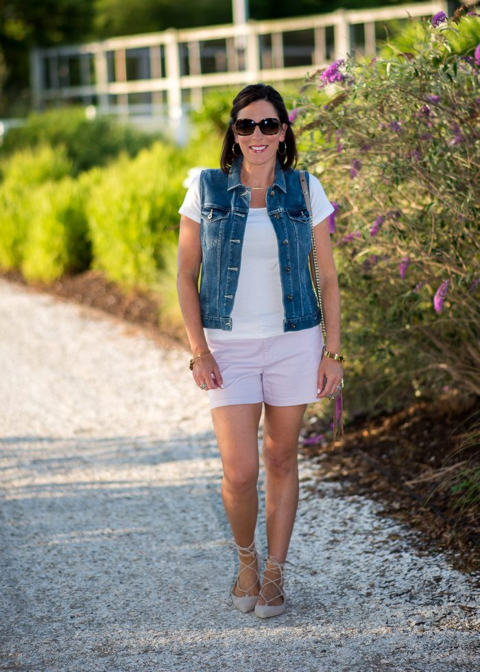 Lace-up flats with shorts is a fresh, fun look for summer, featuring Old Navy Pixie Chino Shorts and M.Gemi Brezza Lace Up Flats in Latte.