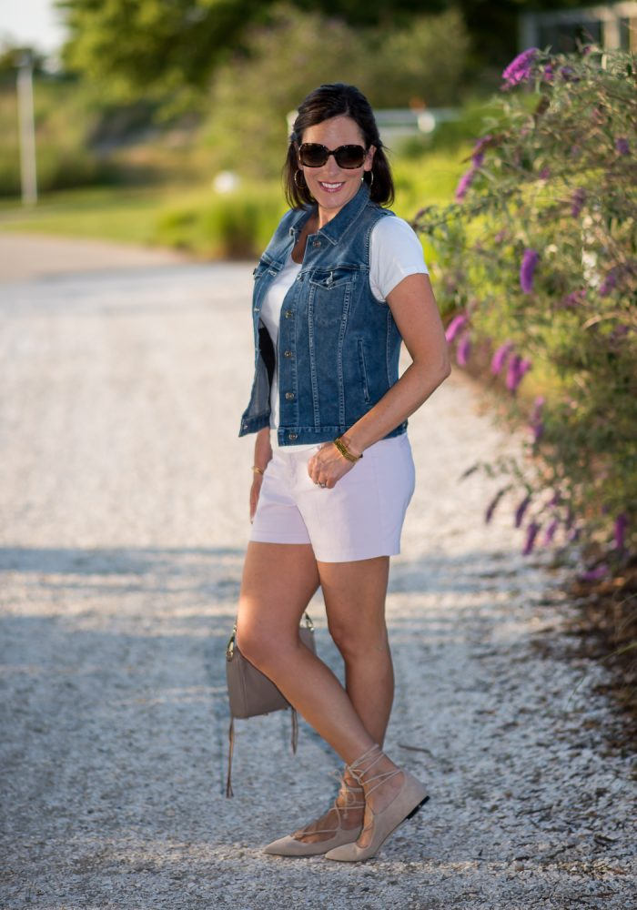 Lace-up flats with shorts is a fresh, fun look for summer. I'm wearing Old Navy Pixie Chino Shorts and M.Gemi Brezza Lace-Up Flats in Latte.