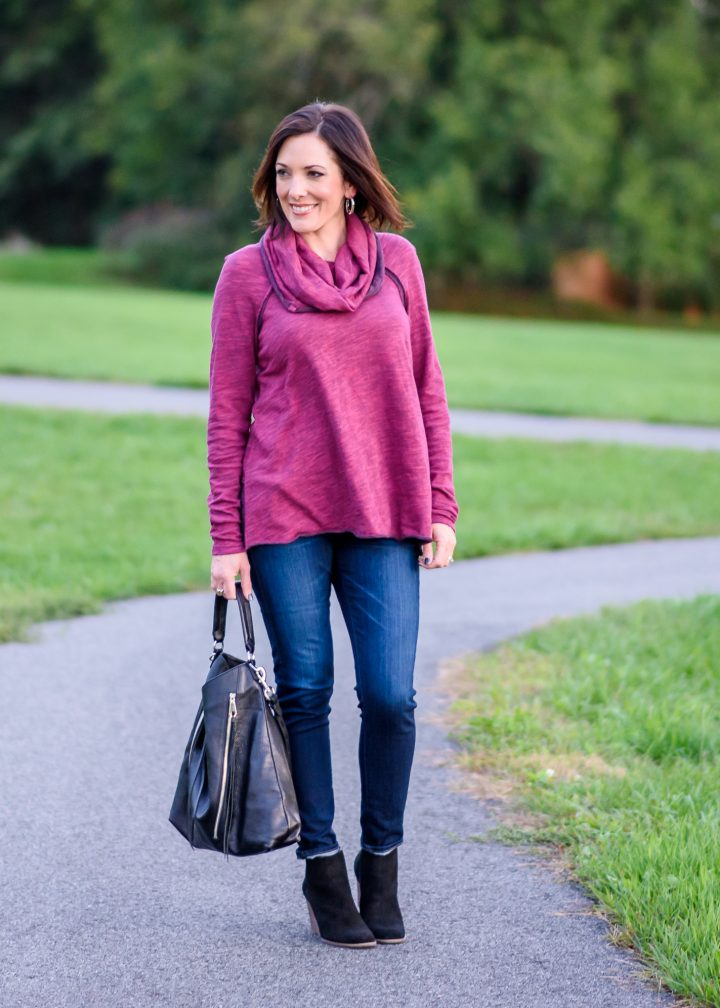 I'm styling the softest cowl neck pullover with skinny jeans and suede wedge booties -- the perfect casual fall outfit for everyday.