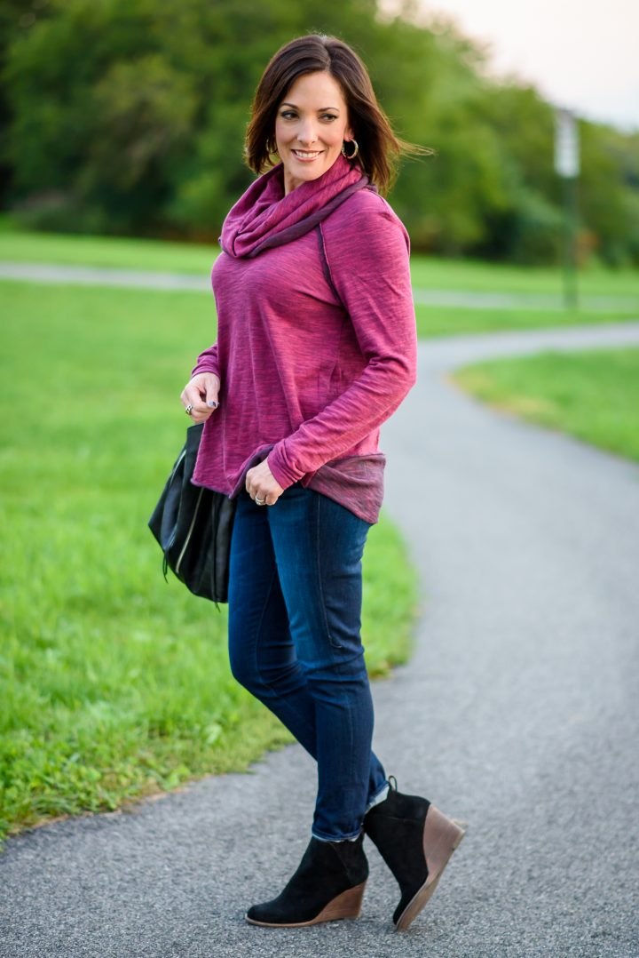 Free People Beach Cocoon Cowl Neck Pullover with AG Skinny Jeans and Lucky Brand Yezzah Ankle Boots