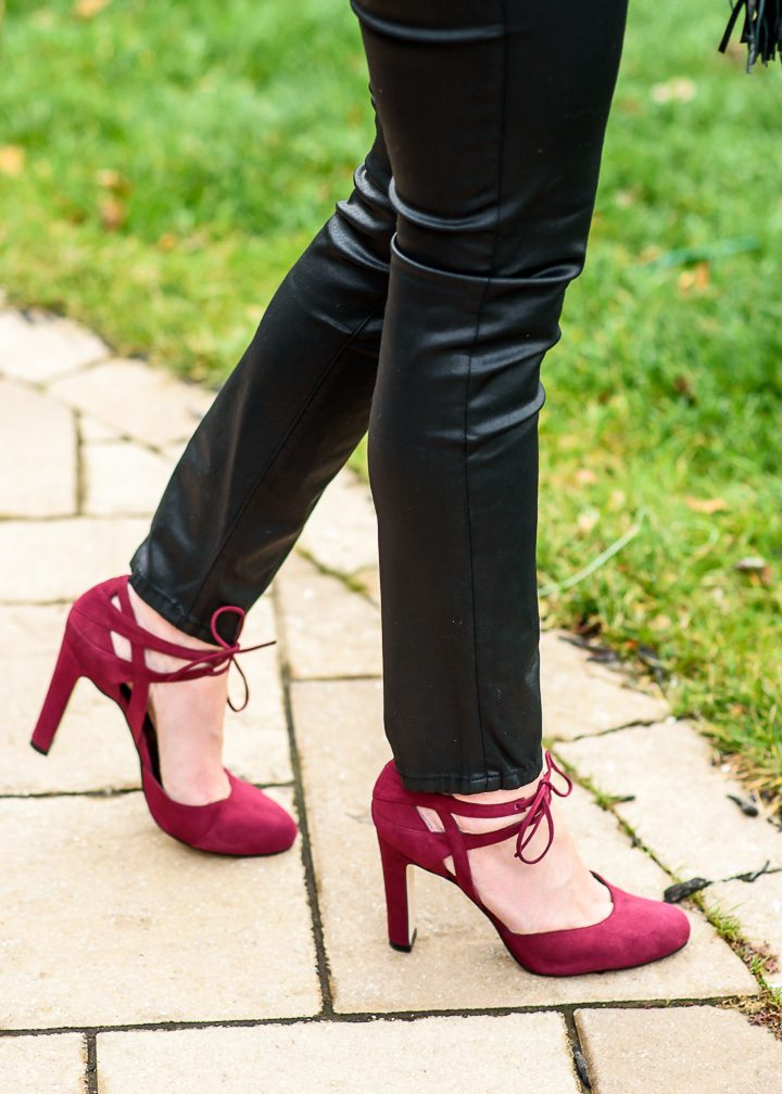Holiday Party Outfit with burgundy suede lace-up d'orsay pumps