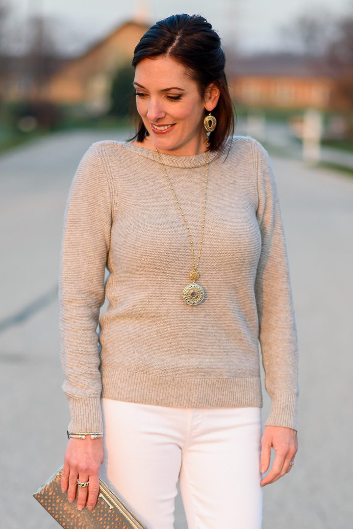 Fashion Over 40 Holiday Style: I'm styling a simple silver and white outfit that is perfect for more casual holiday events when you want to look festive, but not over-the-top.