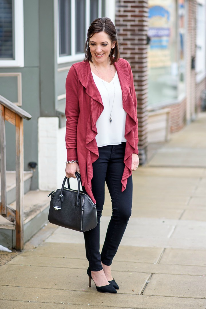 Fashion Over 40: Ruffle Cardigan + Black Skinny Jeans