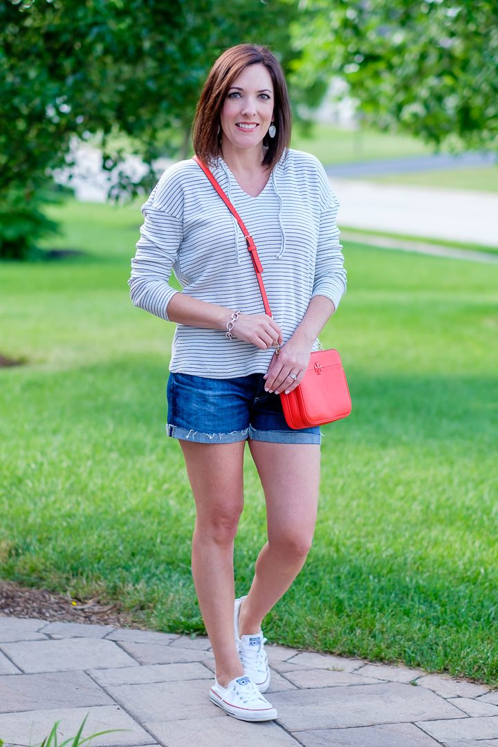 Stripe Pullover with AG Hailey denim shorts and Converse Shoreline