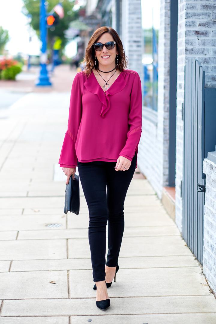 Fall Date Night Outfit Ruffle Blouse + Black Jeans....  Jo-Lynne Shane - howlDb