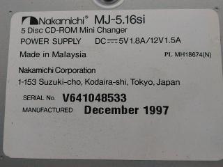 Genuine NAKAMICHI MJ-5.16si 5 discos CD-ROM Mini Cambiador 1997 año modelo