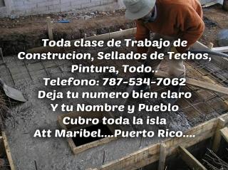Trabajamos con excelencia y calidad. Rapido, Barato, Justo, Voy a toda la isla cotizando llamame deja tu nombre y pueblo y tu numero bien suave para poder llamarte 787-534-7062 Maribel.