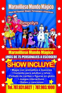 Payasos, Banda en vivo, infables, personajes