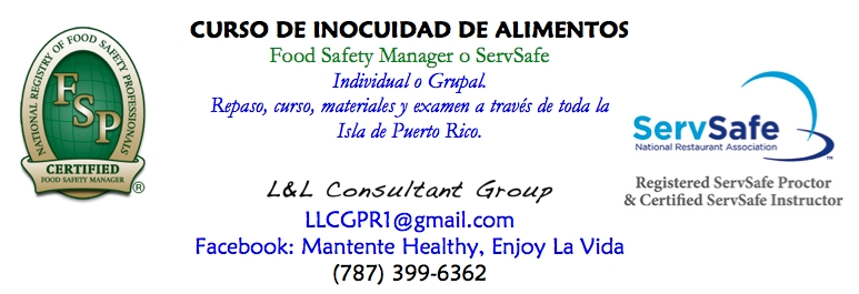 Clase de Inocuidad (ServSafe Manager o Food Safety Manager)