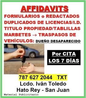 AFFIDAVITS - TRASPASOS de VEHÍCULOS desde $30